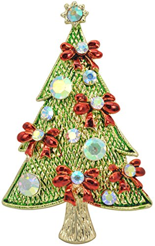 Gyn&Joy Golden Tone Ruby Red Flower Ribbon Bow Green Holiday Christmas Tree Plant Cute Pin - Pin Sapphire Bow