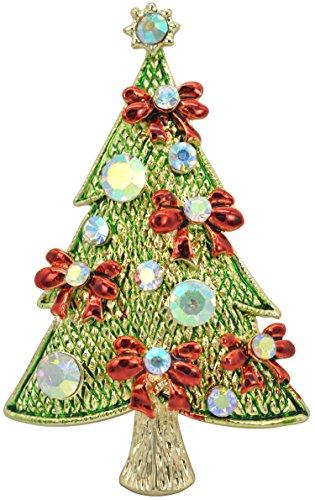 (Gyn&Joy Golden Tone Ruby Red Flower Ribbon Bow Green Holiday Christmas Tree Plant Cute Pin Brooch)