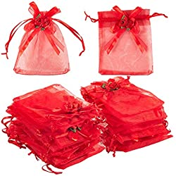 Jewelry Drawstring Pouches - 100-Piece Organza Mesh Gift Bags with Ribbon Bows - Ideal for Jewelry, Party Gifts, Wedding Favors, Arts and Crafts, Sample Packing - Red, 3.7 x 4.7 inches