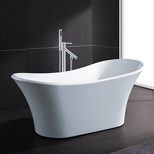 AKDY 71″ Modern Bathroom Oval Freestanding Acrylic Soaking Spa Bathtub Brass Made Floor Mo ...