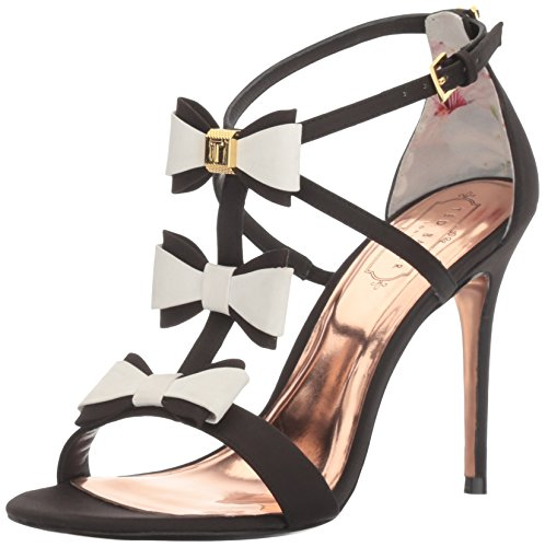 Ted Baker Women's Appolini Text AF Triple Bow Sandal, Black/White, 8 M (Bakers Flats)