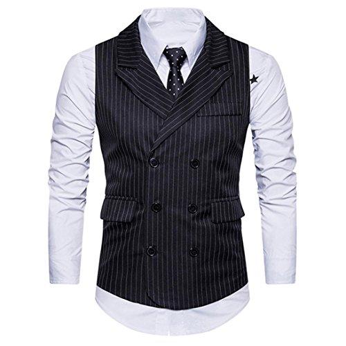 ManxiVoo Mens Waistcoat Formal Double Breasted Tweed Check Business Suit Vest Retro Slim Fit Jacket (M, Black)