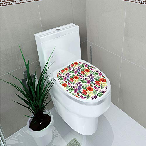 Toilet Applique,Watercolor,Tropical Flower Pattern Various Tropical Plants Calla Chinese Hibiscus Anemone,Multicolor,Custom Sticker,W12.6