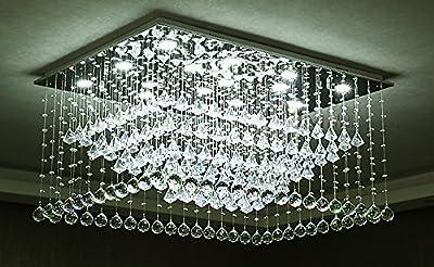 "Siljoy Rectangular Raindrop Crystal Chandelier Lighting Modern Ceiling Lights L35.5 x W23.6"" x H17.7"""