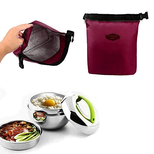 HighlifeS Lunch Bag Waterproof Thermal Fashion Cooler Insulated Lunch Box More Colors Portable Tote Storage Picnic Bags (Wine Red) by HighlifeS (Image #6)