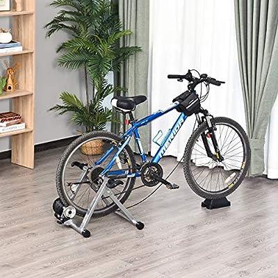 HOMCOM Rodillo Entrenamiento Bicicleta 5 Niveles de Resistencia por Cable Cicloentrenador Acero Bici 54,5 x 47,2 x 39,1cm Color Plata: Amazon.es: Deportes y aire libre