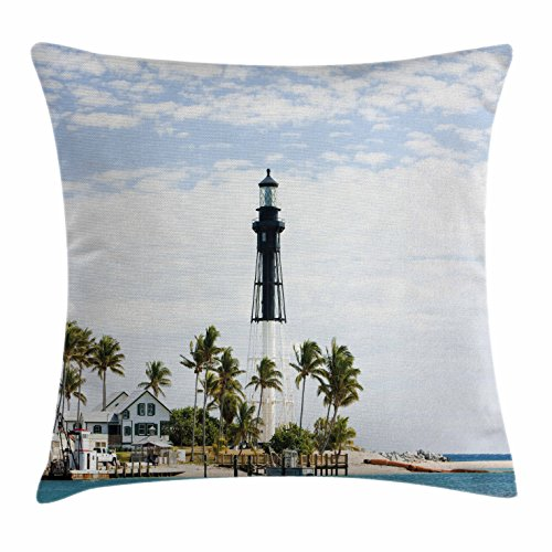 United States Throw Pillow Cushion Cover By Ambesonne  Hillsboro Lighthouse Pompano Beach Florida Atlantic Ocean Palms Coast  Decorative Square Accent Pillow Case  18 X 18 Inches  Blue White Green