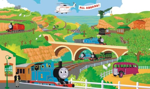 - RoomMates Thomas The Train Full Size Prepasted, Removable Wall Mural - 9' X 15'