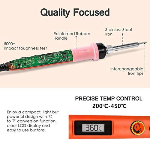 Lötkolben Set Digital, SRMTCH 80W Präzisions-Lötkolben mit LCD-Display, Professionelles Löt-Kit mit einstellbarer Temperatur 200-450 ℃, EIN / AUS-Schalter (Orange)