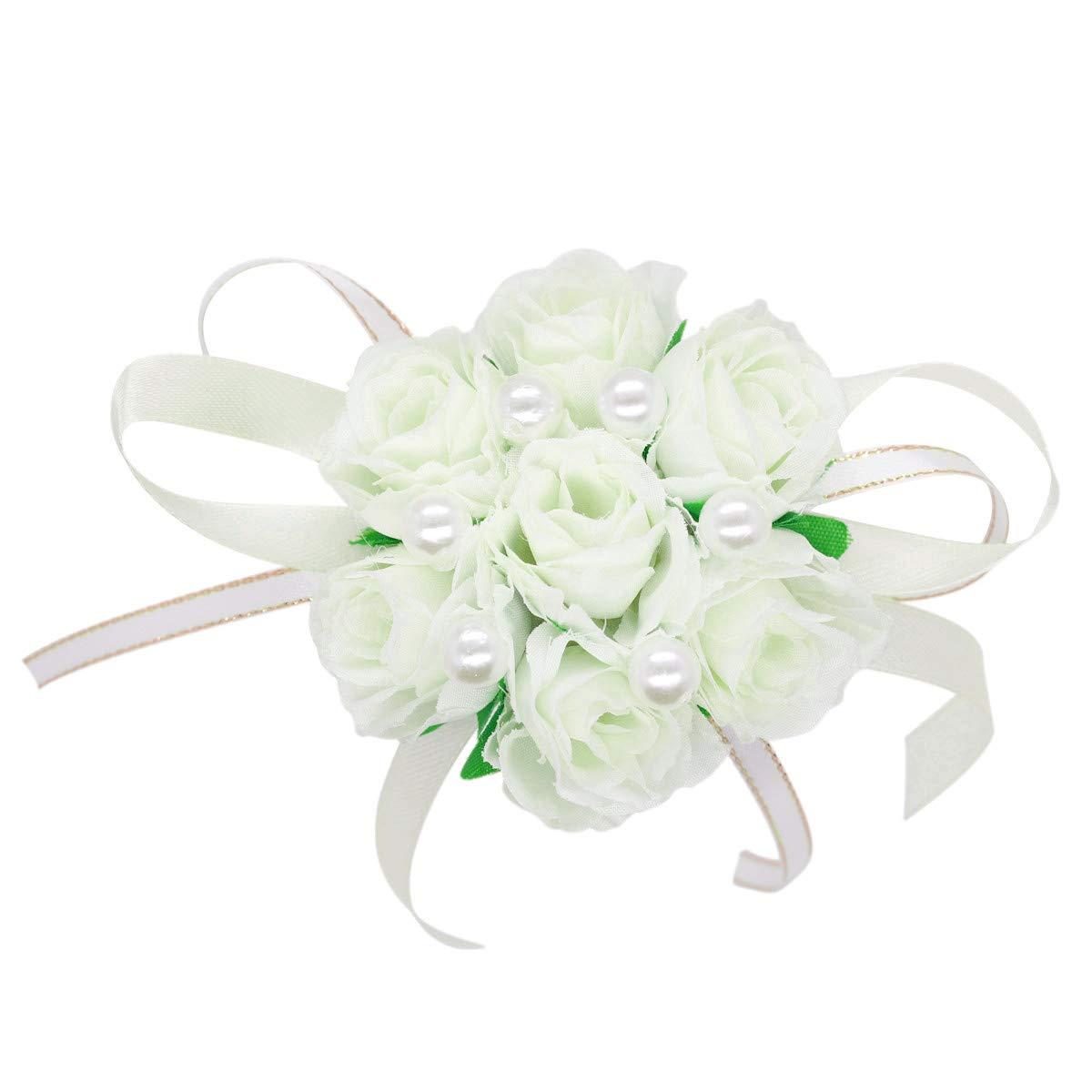 Off White, 2 Hand Flower Wristband Adjustable Ribbon Bride Bridesmaid Wedding Wrist Corsage Hand Decorative Bracelet Wristband Artificial Fabric Rose Wedding Flowers Accessories Prom Festival