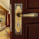 FidgetFidget New Popular Luxury Continental Antique Mechanical Interior Door Handle Lock Full Bronze Bronze