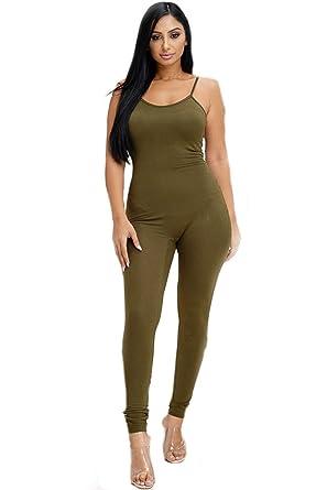 3140060fcb4 Shop Hot Looks Women s Black One Piece Spaghetti Strap Bodycon Tank Jumpsuit  (Small