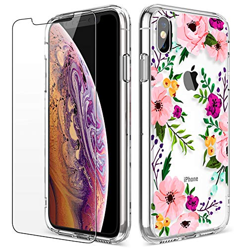 iPhone X Case, LUHOURI Clear iPhone X/Xs Case with Glass Screen Protector, Girls Women Floral Heavy Duty Protective Hard PC Back Case with Ultra-Thin Shockproof Slim TPU Bumper Case iPhone 10