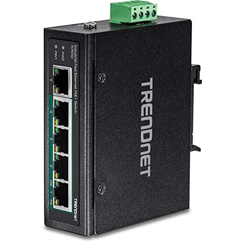 TRENDnet 5-Port Industrial Fast Ethernet DIN-Rail Switch, 4 X Fast Ethernet POE+ Ports, 1 X Fast Ethernet Port, 1 Gbps Switch Capacity, DIN-Rail, Lifetime Protection, TI-PE50