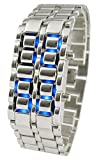 Youyoupifa Men's Stainless Steel Lava Blue LED Digital Bracelet Watch (Silver)