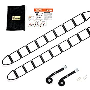 WOSS Beast, Suspension Ladder PRO Trainer - Made in USA Fitness Training Gear (BLACK)