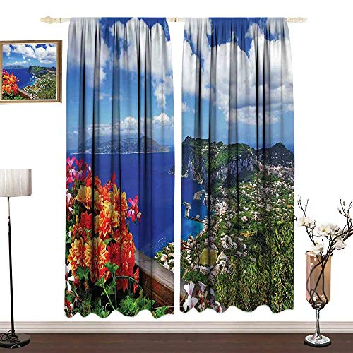 - DESPKON-HOME Island Kitchen Curtains and Valances Set Window Drapes 2 Panel Scenic Capri Island Light Darkening Curtains W120 x L108 in Italy Mountain Houses Flowers View from Balcony Landmark