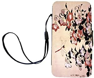 Rikki KnightTM Katsushika Hokusai Art Chinese Bell Flower and Dragon-Fly PU Leather Wallet Type Flip Case with Magnetic Flap and Wristlet for Apple iPhone 4 & 4s