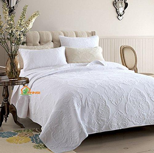 HHNSI 3 Pieces White Vintage Flora Quilt Comforter Coverlet Sets Queen Size, Cotton Comfy Bedspread Bedding Sets ,Quilt and Sham Sets (White Vintage Flora)