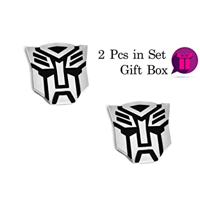 "Transformers Autobot Emblem Sticker for Cars 2pcs in Set - 3"" Tall - Сar Accessories Chrome Finish PVC Autobot Emblem Gift Box: Automotive"