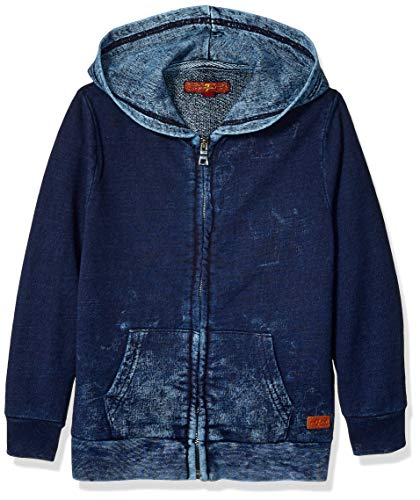 7 For All Mankind Kids Boys' Little French Terry Zip Up Hoodie, Indigo Splatter, 6 (7 All For Sweater Mankind)