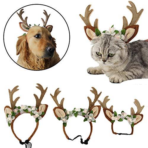 Glumes Christmas Pet Costume - Adjustable Dog Christmas Elk Hat Pet Costume Reindeer Caps Classic Headband