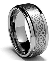 8mm Mens Tungsten Carbide Ring Laser Celtic Knot Polish Edge Wedding Band Size 7-14
