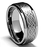 King Will 8mm Mens Tungsten Carbide Ring Laser Celtic Knot Polish Edge Wedding Band Size 7-14