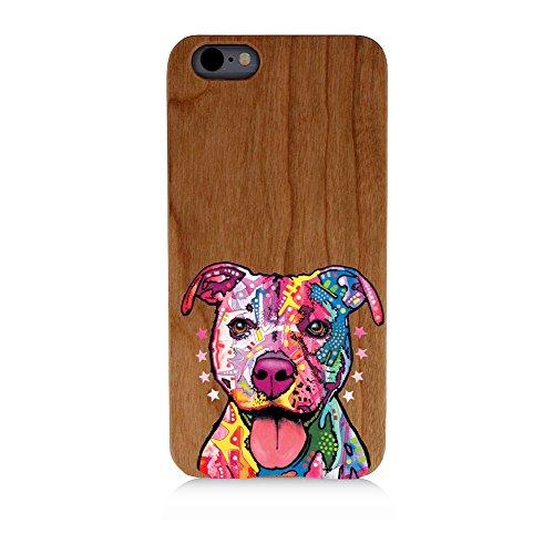 Retro Colored Pit bull Uv Print Cherry Wood Natural Wooden Case Bright Print Samsung Galaxy s7 Edge