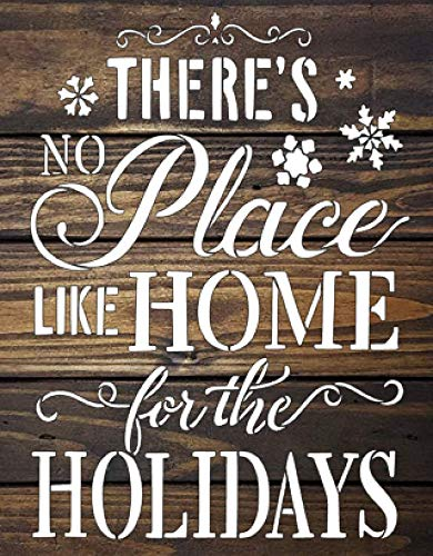 There is no Place like home for the holidays Stencil, Arts and crafts, Christmas, Walls, Woodwork, Kids, Mom, Grandmom, Boy, Dad, Brother, Sister, Decoration, Kitchen, Red, Blue, Green from AMAZING ART