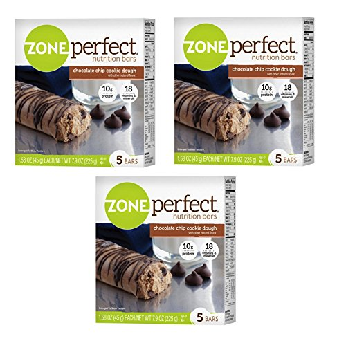 Zone Perfect Nutrition Bars, Chocolate Chip Cookie Dough, 7.9 Oz (Pack of 3) (Perfect Zone Sweet)