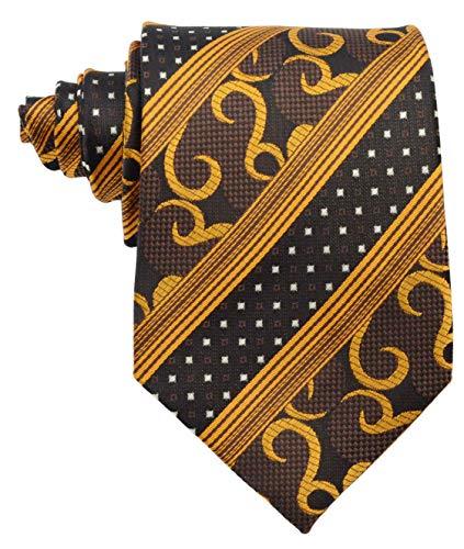 Scott Alone : New Classic Gold Black Striped 100% New Jacquard Woven Silk Men's Tie Necktie ()