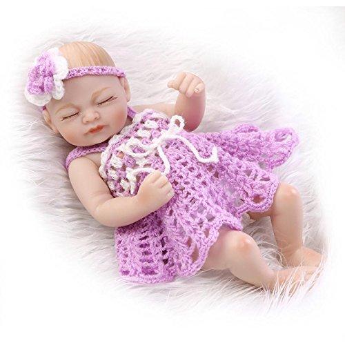 NPKDOLL Reborn Baby Bambino Reborn Bambola Disco in Vinile in Silicone da 10 Pollici 26 Centimetri Impermeabile Occhi Giocattolo Viola Fine della Ragazza Bambolina Reborn Doll A1IT