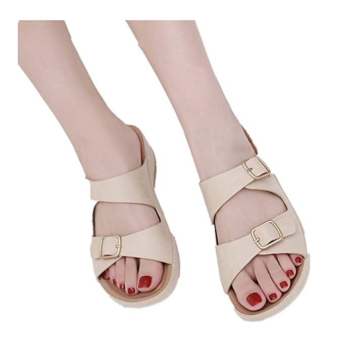 063b4ebbb9b6 Womens Open Toe Buckle Strap Sandals Bohemian Belt Casual Beach Shoes Flat  Slippers (Beige