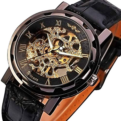 GuTe Classic Steampunk Black Golden Mechanical Wristwatch Hand-wind Skeleton Luminous