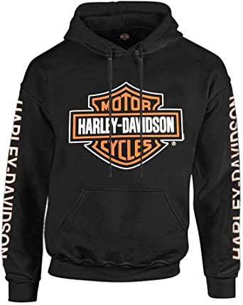 Harley-Davidson Mens Bar /& Shield Logo Pullover Hooded Sweatshirt Gray