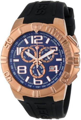 Swiss Legend Men's 40118-RG-03 Super Shield Chronograph Blue Dial Black Silicone Watch