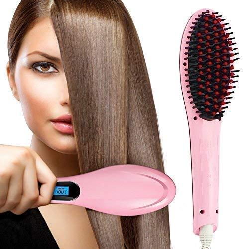 HQT 906 Fast Hair Straightener Brush with Temperature Control  Multicolour