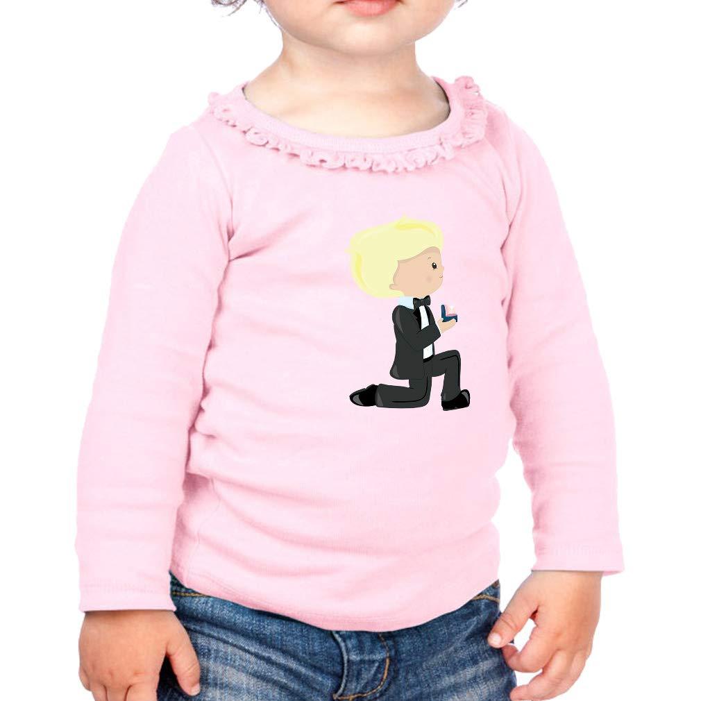 Wedding Groom Ring Blonde Cotton Girl Toddler Long Sleeve Ruffle Shirt Top