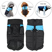 Pet Dog Coat Waterproof warm Jacket With D-Ring, Warm Padded Puffer, Chest Protector Winter Warm Harness Vest Jacket Puppy Clothes Vest ski suit For Small Medium Large Dogs (S, Blue)
