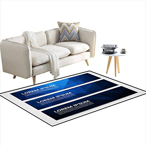 Girls Bedroom Rug Web Banner Header Layout Template with Abstract Blue Triangle Pattern Background 4'x10'