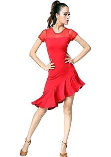 ed8b87a41e4a ZX Women's Latin Dancewear Mesh Neck Short Sleeve Swallowtail Rumba Salsa  Dance Dress