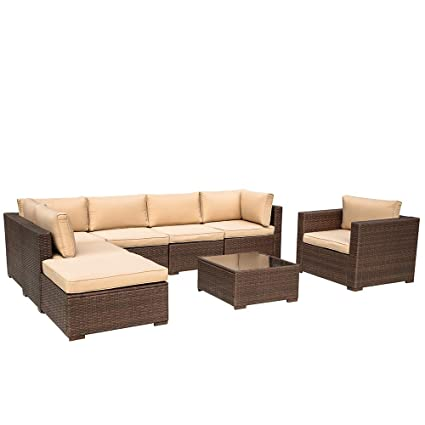 Super Patio 8 Piece Outdoor Furniture Sets Outdoor Rattan Sectional Furniture Set Beige Velcro Cushions Brown Pe Wicker