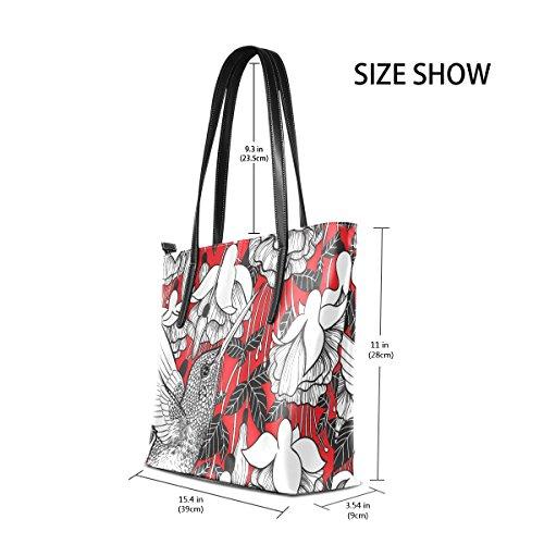 for Leather Hummingbird Shoulder Flowers Women Pu Handbag Printing Bennigiry Tote TP4q8qw