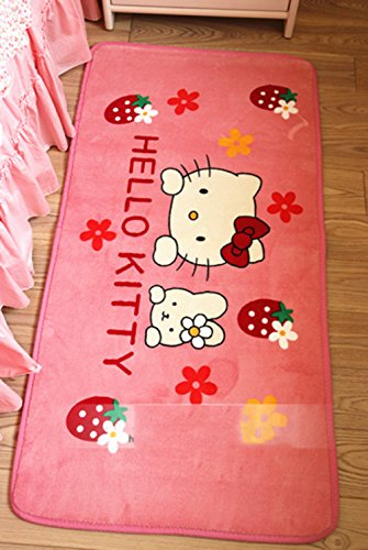 Hello Kitty Carpet (Cute Cartoon Hello Kitty Non-slip Door Mats Soft Children Roon Bed Rug Pink S)