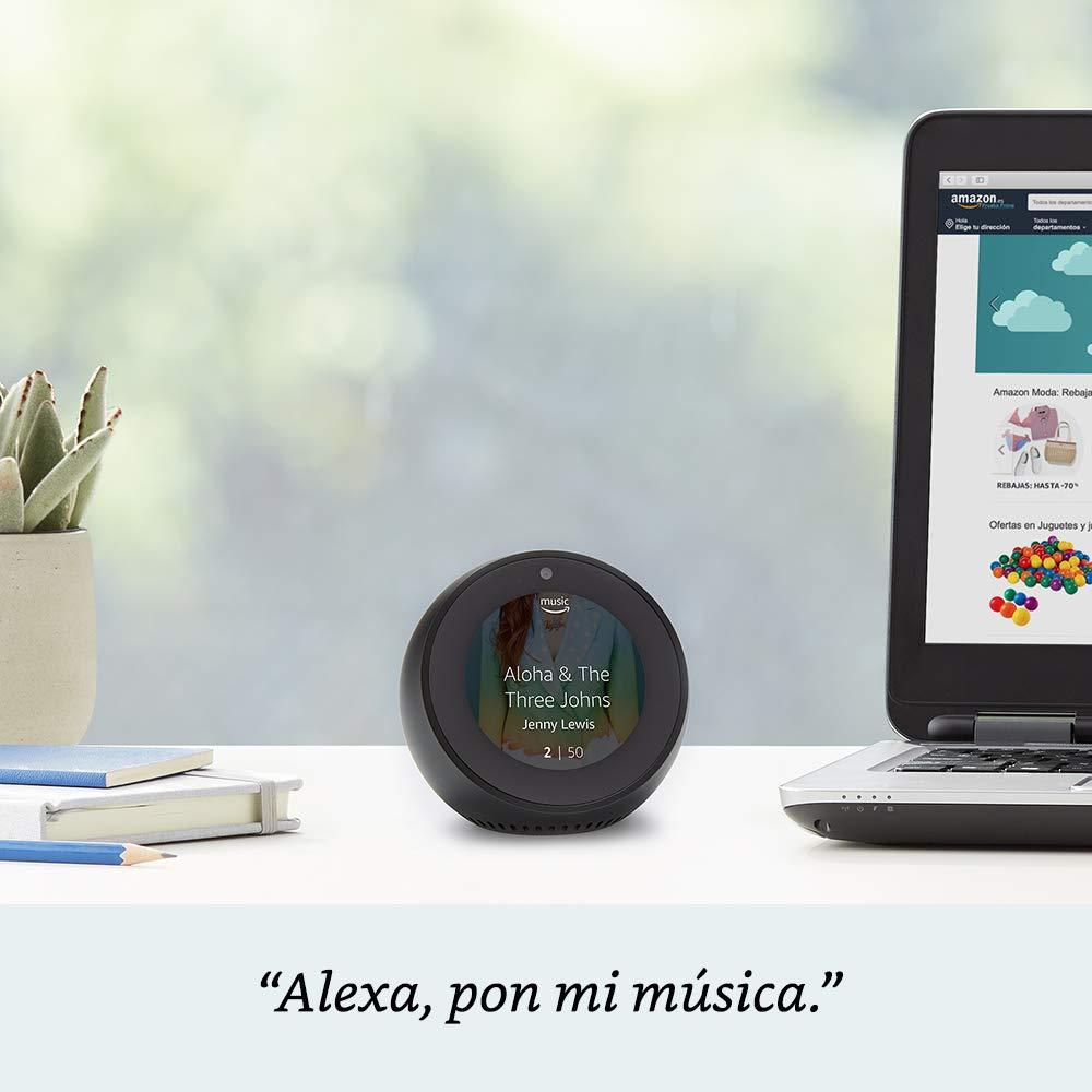 Amazon Echo Spot, blanco + Philips Hue White Kit - Kit de 2 bombillas LED E27 y puente