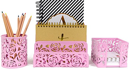 Pink Rose Pattern (Blu Monaco Pink Desk Organizer for Women - 3 Piece Desk Accessories Set - Letter-Mail Organizer, Sticky Note Holder, Pen Cup - Pink Rose Pattern)