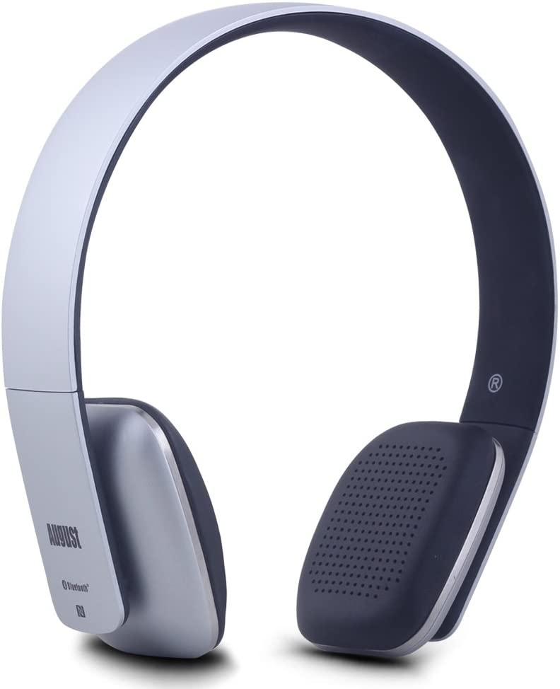 August EP636 Bluetooth Headphones - Wireless On-Ear Headphones with NFC/Headset Microphone - Silver