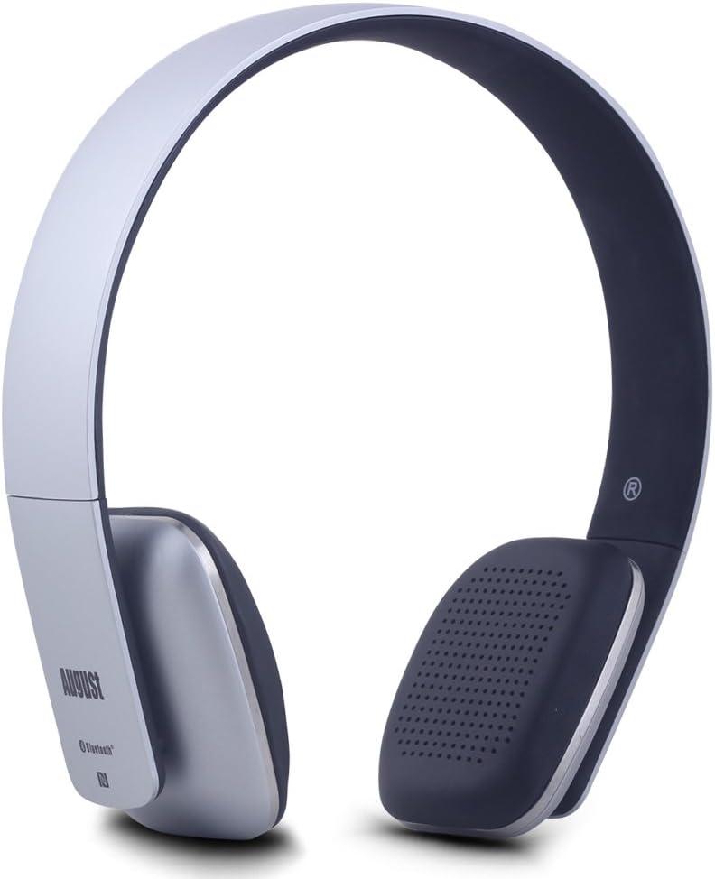August EP636 - Auriculares Bluetooth de Diadema Casco Inalámbrico NFC con Micrófono Manos Libres para Teléfonos, Tabletas y Ordenadores, color Gris