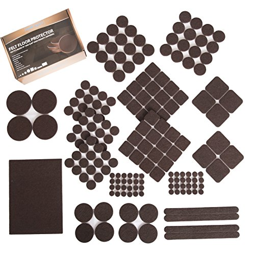 Furniture Felt Pads XL Set 185 pcs Pack! Floor Protector for Wood, Tile Floor and All Hard Surfaces. Brown Premium Felt and Heavy Duty Adhesive - for Chair Legs, Tables, Sofas, Desks and More by Our Daily Life